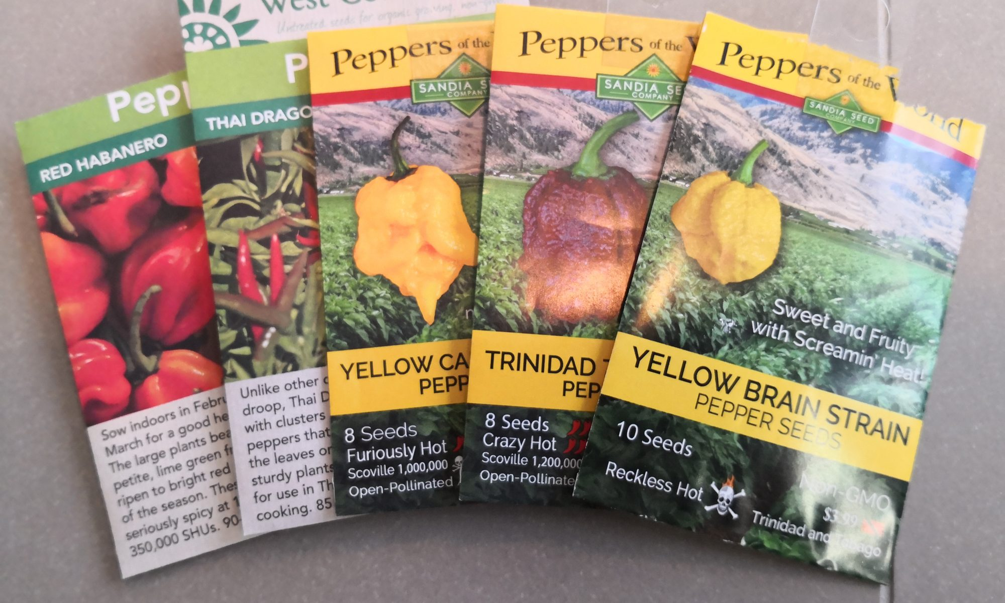 Super hot pepper seed packages